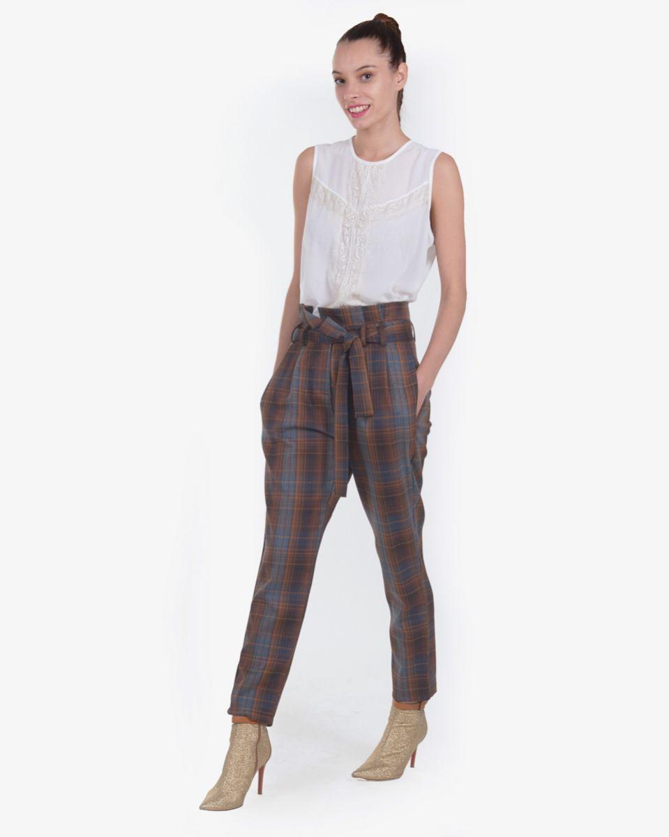 Pantalone pieghe vita alta