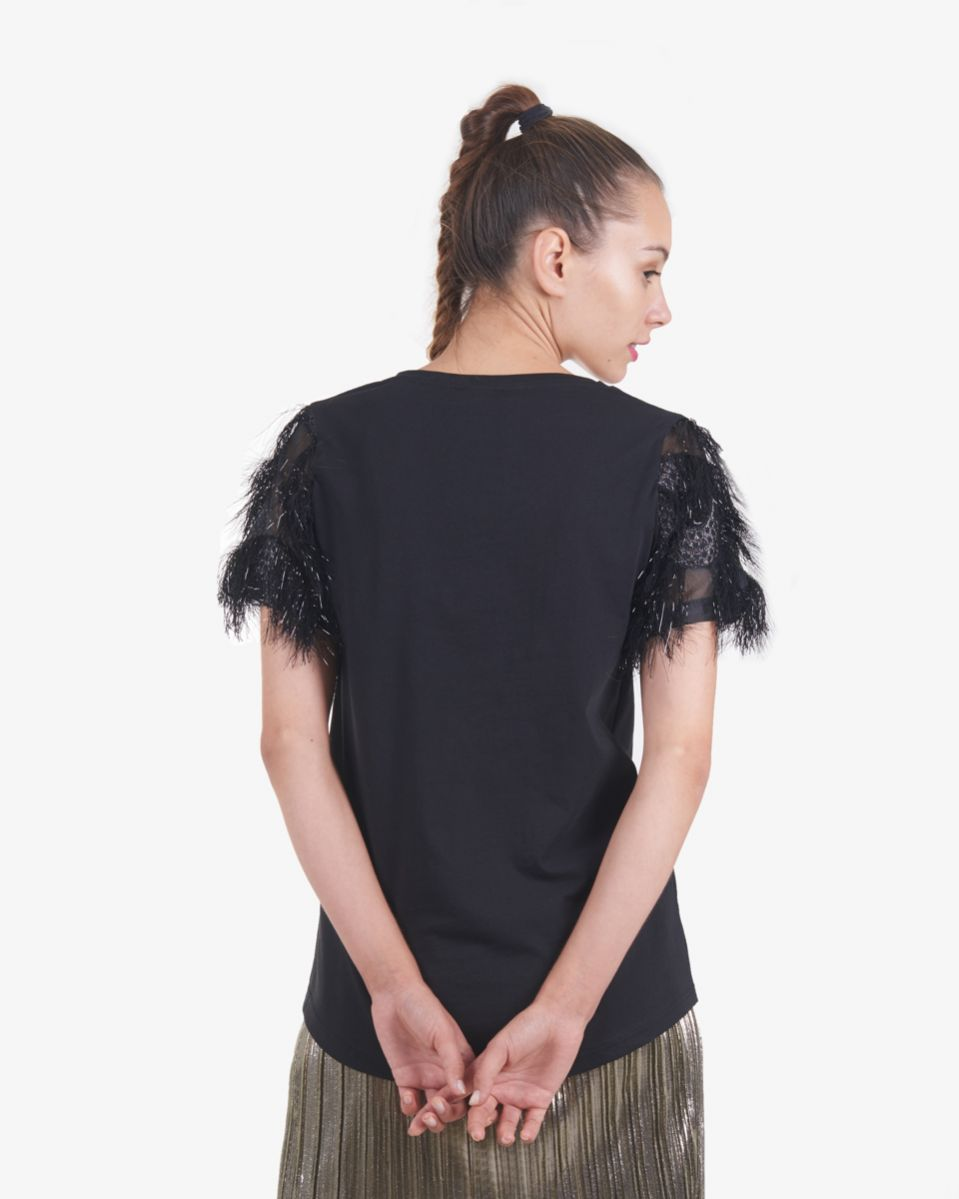 T shirt con maniche in organza