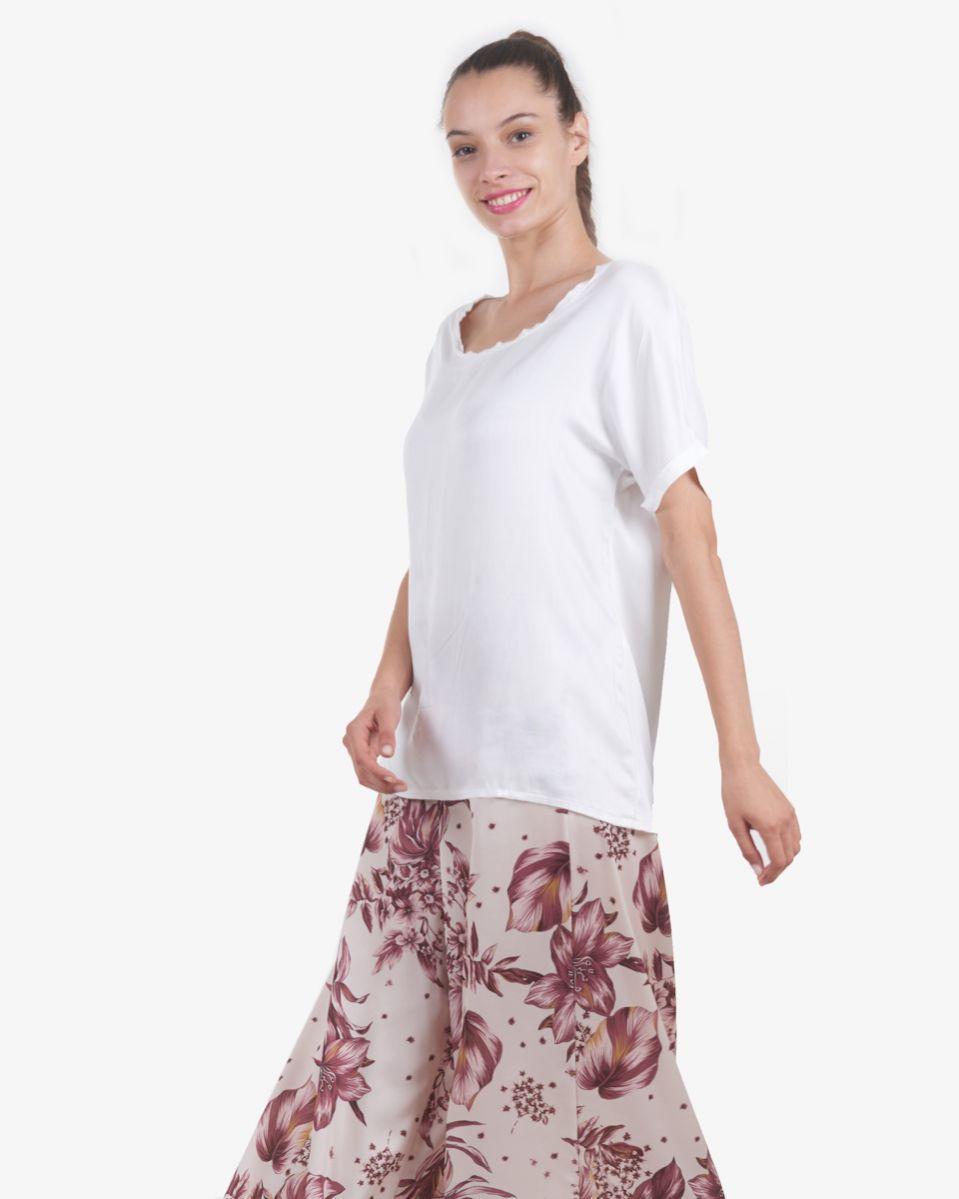 T-shirt girocollo in viscosa