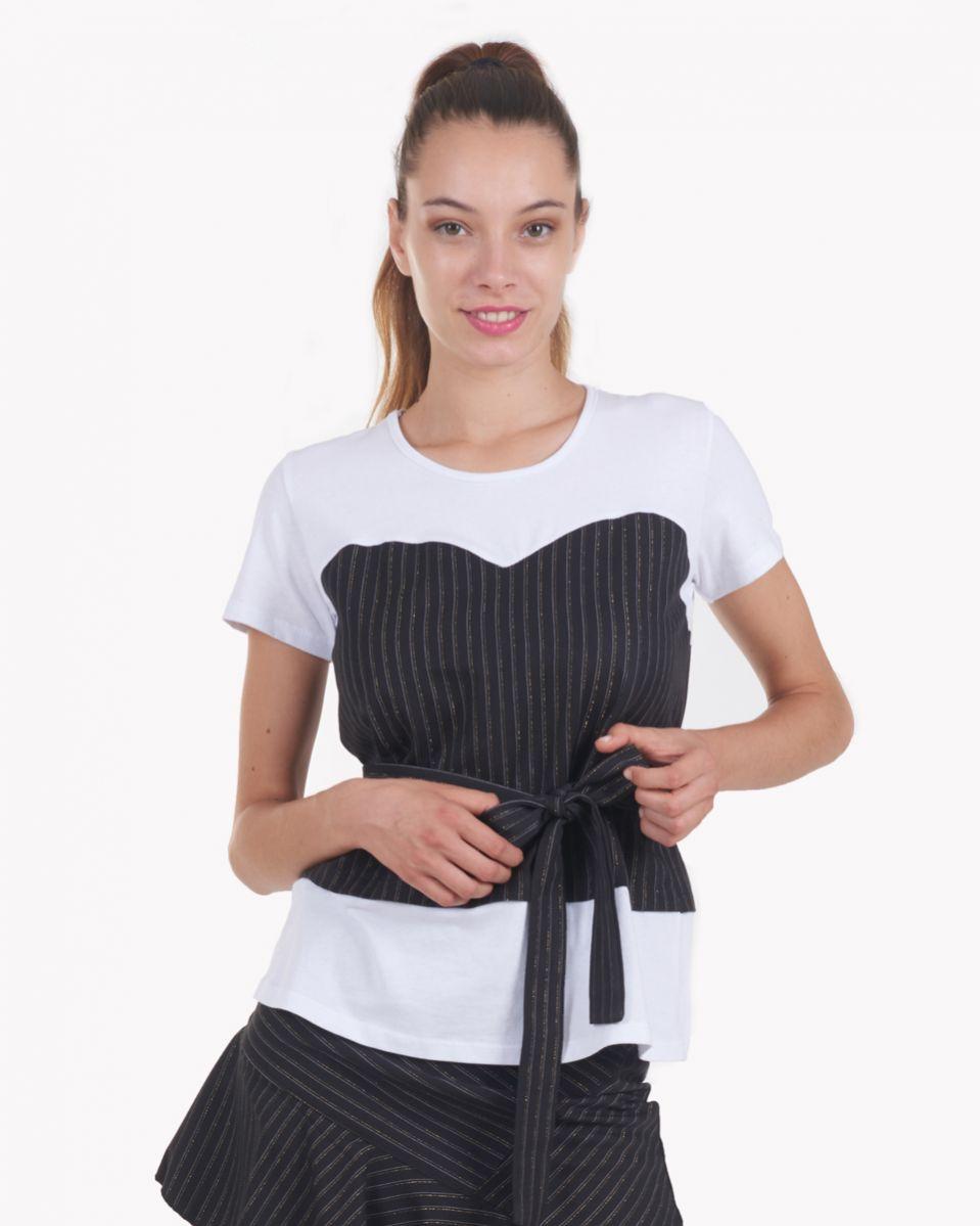 T-shirt cotone e gessato