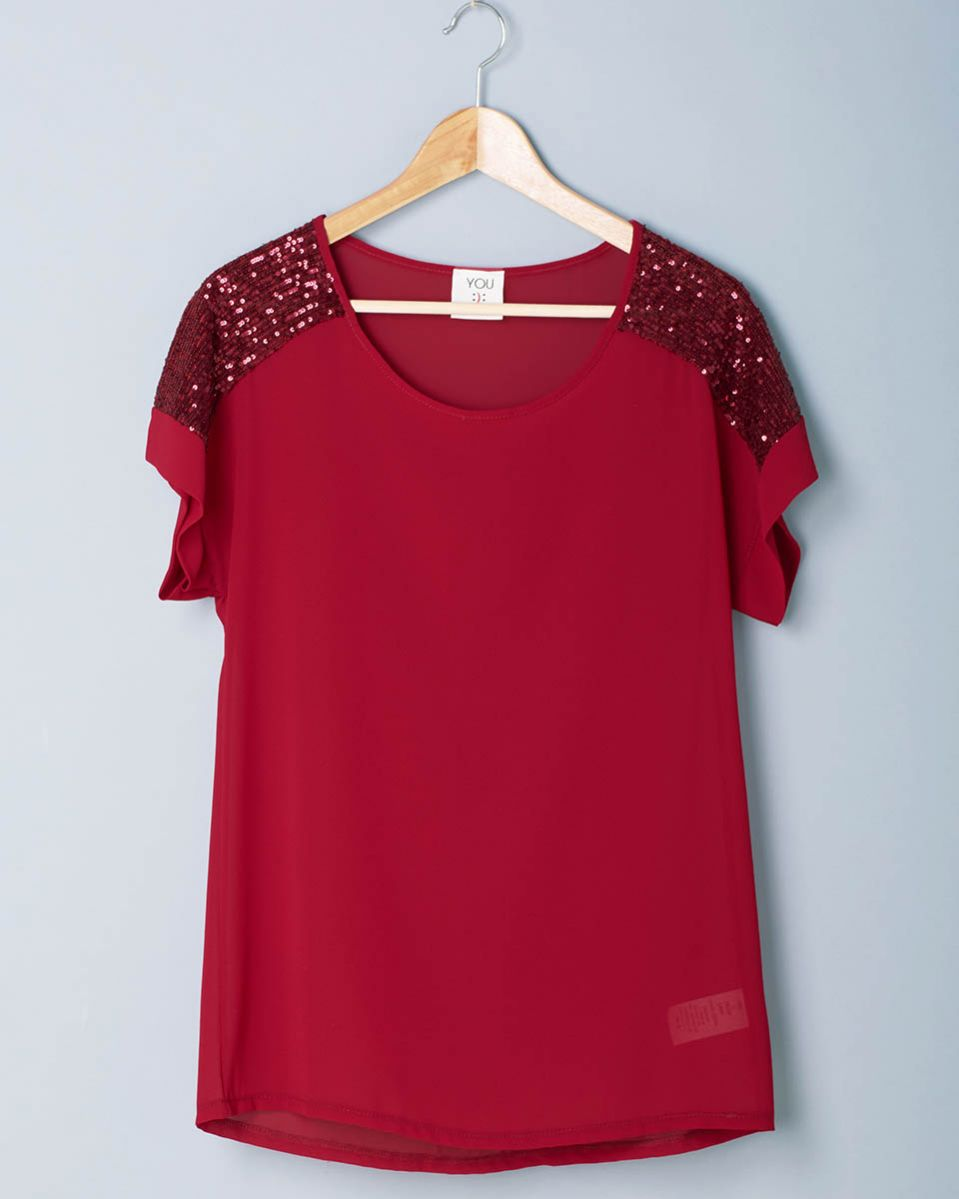 T-shirt georgette paillettes