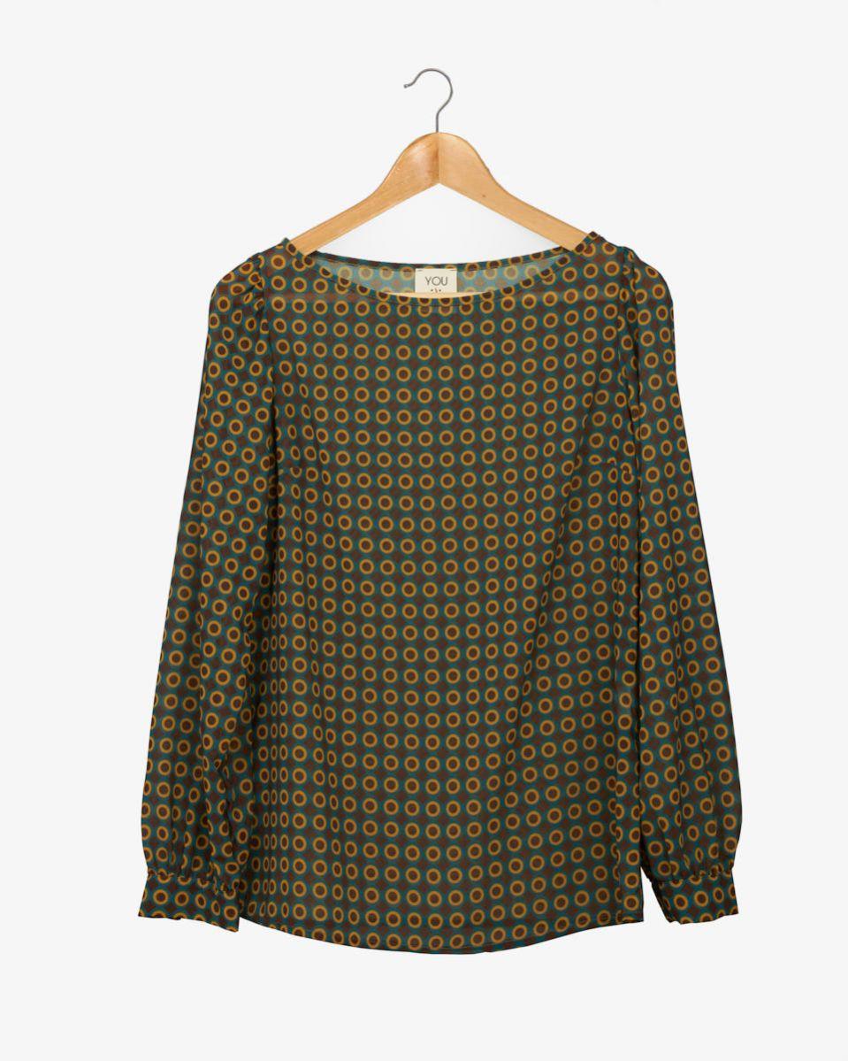 Camicia georgette quadri e cerchi