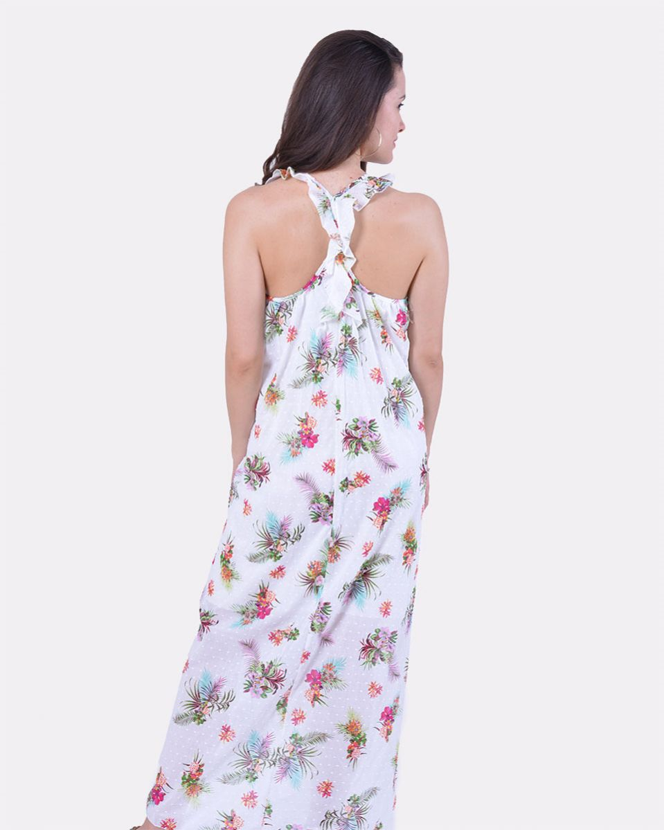 Abito cottone lungo con fiori fantasia