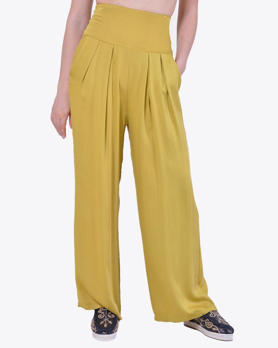 Pantalone alta vita con viscose