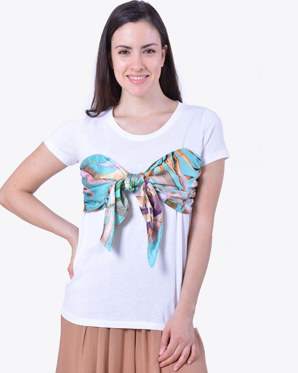 T-shirt fiocco raso fantasia
