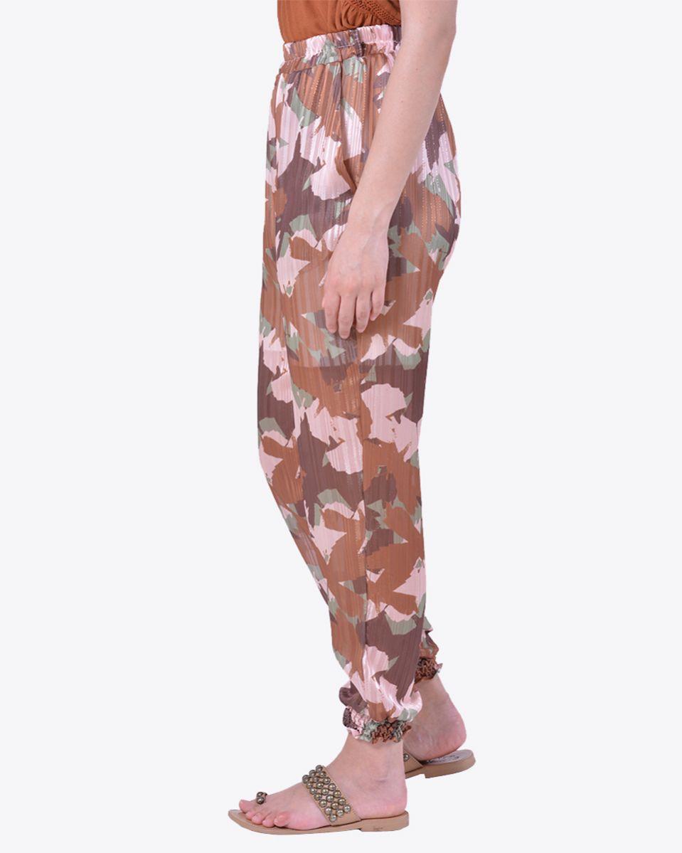 Pantalone stampa camouflage lurex con polsino