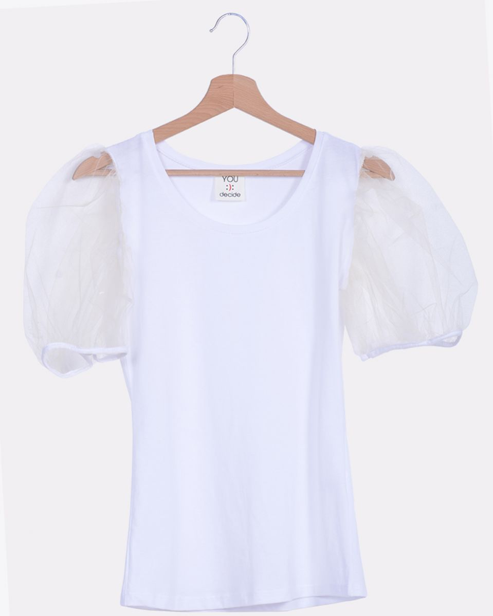 T-shirt manica a palloncino in tulle