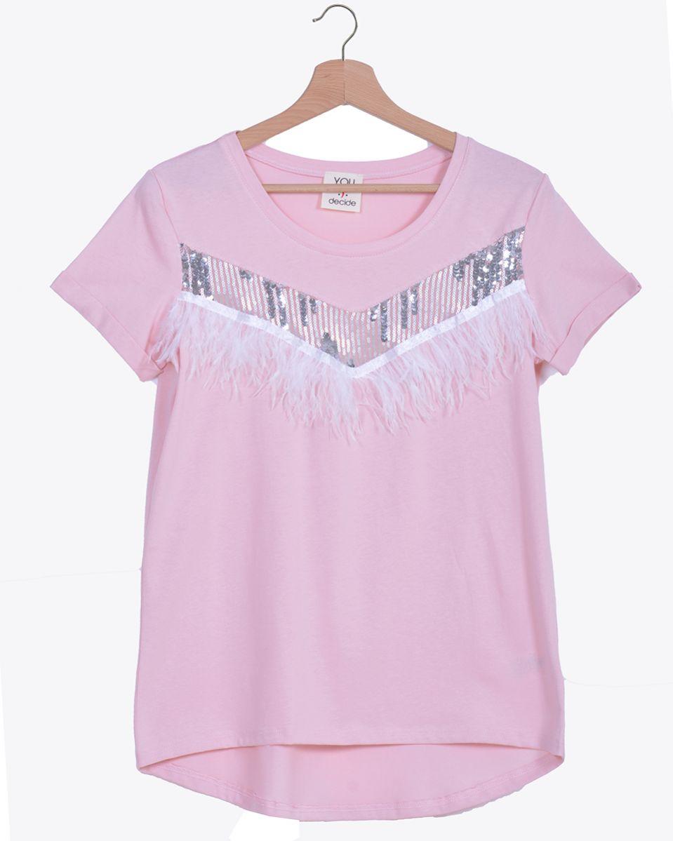T-shirt con piume