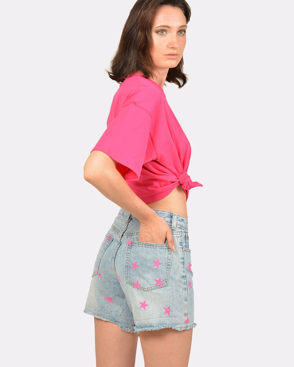 Short in jeans stampato stelle
