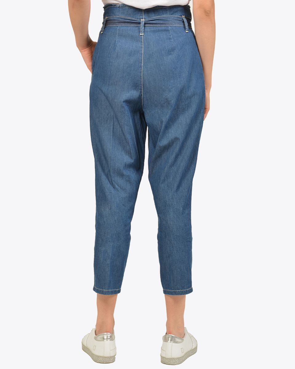 Pantalone chambrì cottone a vita alta