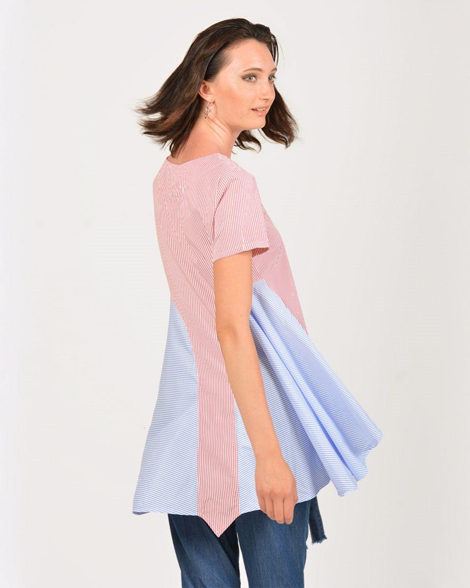 Camicia lungo in popeline righe