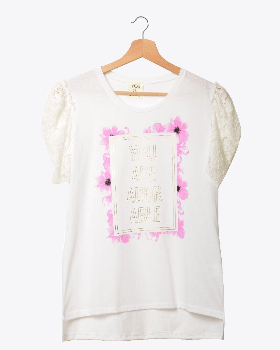 T-shirt manica pizzo scritto Adorable