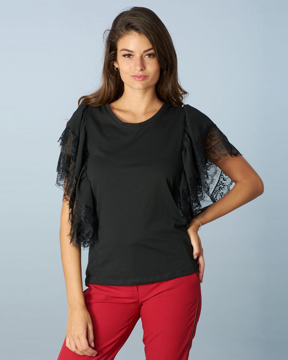 T-shirt blusa pizzo e tulle