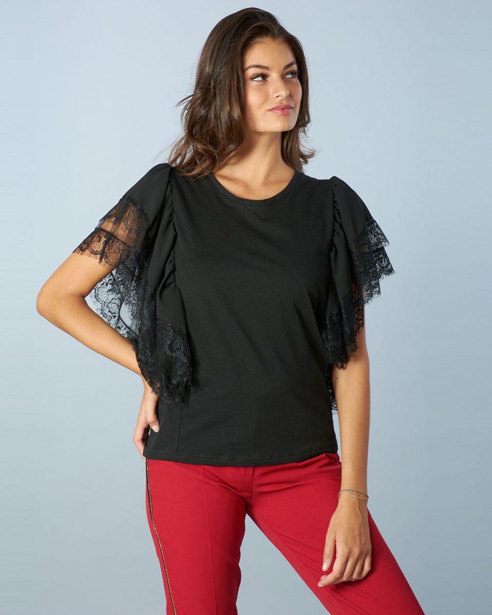 T-shirt blusa pizzo e tulle