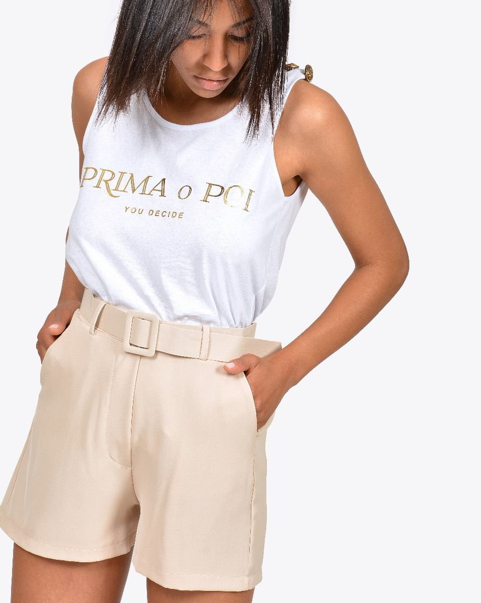 Shorts in cadì con cintura